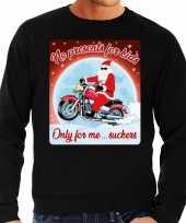 Foute kersttrui voor motorlief hebbers no presents zwart heren