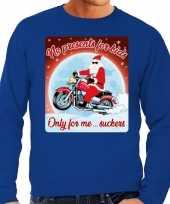 Foute kersttrui voor motorliefhebbers no presents blauw heren