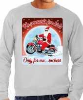 Foute kersttrui voor motorliefhebbers no presents grijs heren