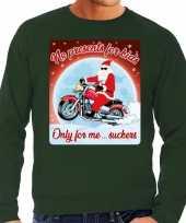 Foute kersttrui voor motorliefhebbers no presents groen heren