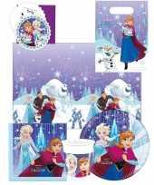 Frozen blauw paars kinderfeest tafeldecoratie pakket 6 personen