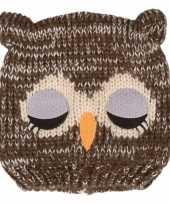 Gebreide uilenmuts met pompon oren grijs voor kinderen