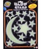 Glow in the dark sterren maan geel 13 stuks