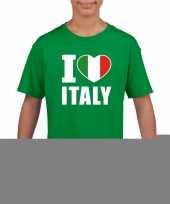 Groen i love italie fan shirt kinderen