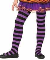 Heksen verkleedaccessoires panty maillot zwart paars voor meisje