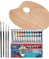 Hobby verfset voor kinderen met acrylverf schilderspalet en 5 kwasten
