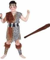 Holbewoner kostuum maat m met knots voor kinderen