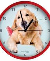 Honden wandklok golden retriever rood 25 cm