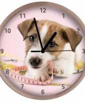 Honden wandklok jack russell beige 25 cm