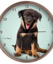 Honden wandklok rottweiler pup beige 25 cm