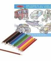 Jongens kleurboek met kleurpotloden set