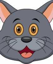 Kartonnen grijze katten poezen masker voor kinderen