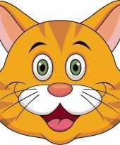 Kartonnen oranje katten poezen masker voor kinderen