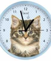 Katten poezen wandklok blauw 25 cm