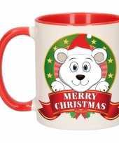Kerst mok beker met ijsbeer print 300 ml