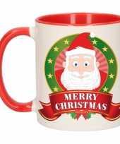 Kerst mok beker met kerstman print 300 ml