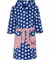 Kinder badjas blauw met stippen