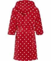 Kinder badjas rood met stippen