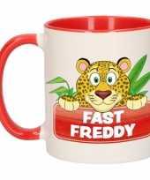 Kinder luipaarden mok beker fast freddy rood wit 300 ml