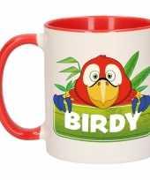 Kinder papegaaien mok beker birdy rood wit 300 ml