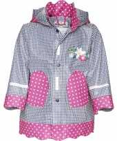 Kinder regenjas navy roze design