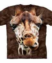 Kinder t-shirt giraffe bruin