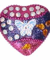 Kinder tanden doosje vlinder roze blauw 6 cm