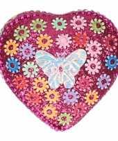 Kinder tanden doosje vlinder roze met bloemetjes 6 cm