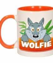Kinder wolven mok beker wolfie oranje wit 300 ml
