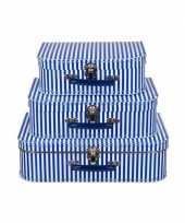 Kinderkoffertje blauw met witte strepen 30 cm