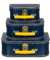 Kinderkoffertje navy geel 25 cm