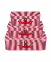 Kinderkoffertje rood met witte strepen 30 cm