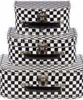 Kinderkoffertje zwart wit 20 cm geblokt