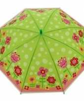 Kinderparaplu bloemen print groen roze 70 cm