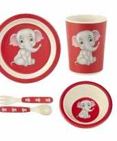 Kinderservies olifant bamboe set 5 delig