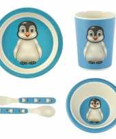 Kinderservies pinguin bamboe set 5 delig