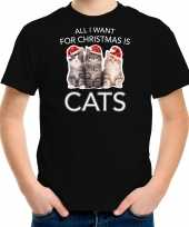 Kitten kerst t-shirt outfit all i want for christmas is cats zwart voor kinderen