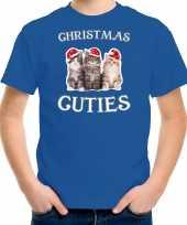 Kitten kerst t-shirt outfit christmas cuties blauw voor kinderen