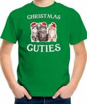 Kitten kerst t-shirt outfit christmas cuties groen voor kinderen