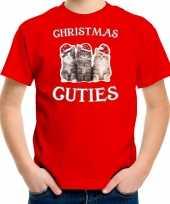 Kitten kerst t-shirt outfit christmas cuties rood voor kinderen