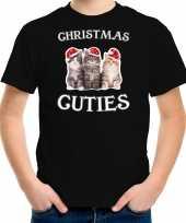 Kitten kerst t-shirt outfit christmas cuties zwart voor kinderen