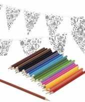 Knutsel papieren vlaggenlijn om in te kleuren 3m incl potloden