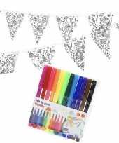 Knutsel papieren vlaggenlijn om in te kleuren 3m incl stiften