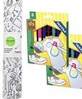Knutsel stoffen kleurplaat 140 cm incl stiften voor kinderen