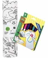Knutsel stoffen kleurplaat 70 cm incl stiften voor kinderen