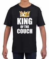 Koningsdag t-shirt king of the couch zwart voor kinderen