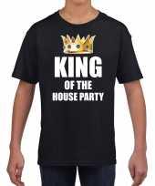 Koningsdag t-shirt king of the house party zwart voor kinderen