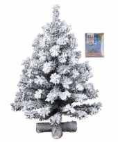 Kunst kerstboompje groen met sneeuw 60 cm inclusief gekleurde kerstverlichting