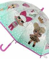 Lol surprise kinderparaplu mintgroen transparant voor meisjes 71 cm