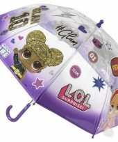 Lol surprise kinderparaplu paars transparant voor meisjes 71 cm